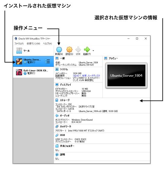 VirtualBoxの画面構成
